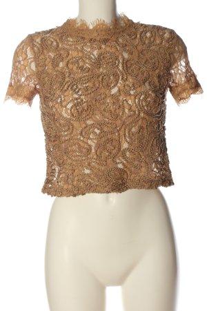 Zara Transparenz-Bluse braun Casual-Look