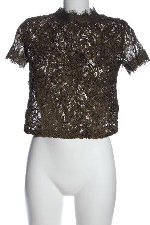 Zara Transparenz-Bluse braun Webmuster Casual-Look