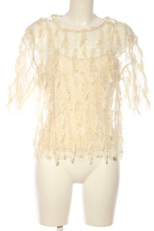 Zara Transparenz-Bluse creme extravaganter Stil