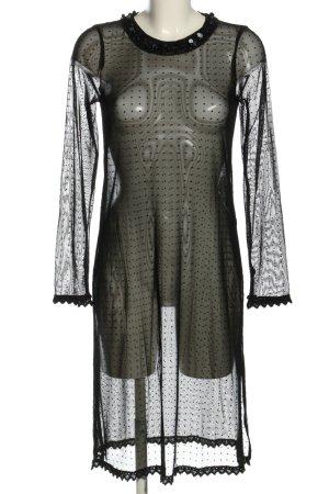 Zara Transparenz-Bluse schwarz Allover-Druck extravaganter Stil