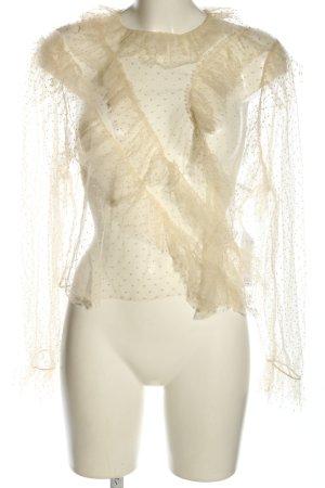 Zara Transparenz-Bluse creme Punktemuster Elegant