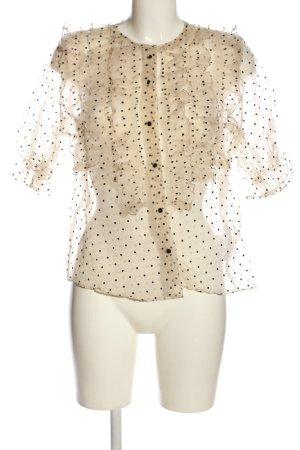 Zara Transparenz-Bluse creme-schwarz Punktemuster Casual-Look