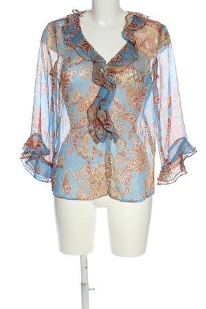 Zara Transparenz-Bluse blau-braun Allover-Druck Casual-Look