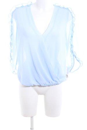 Zara Transparenz-Bluse blau Casual-Look
