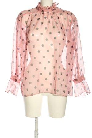 Zara Transparenz-Bluse creme-khaki Allover-Druck Elegant