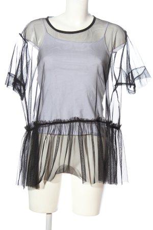 Zara Transparentna bluzka czarny Elegancki