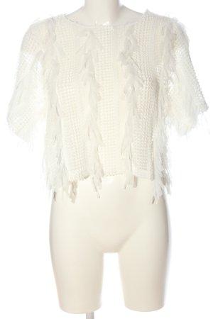 Zara Transparentna bluzka biały Elegancki