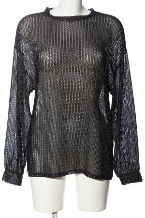 Zara Transparenz-Bluse schwarz Webmuster Casual-Look