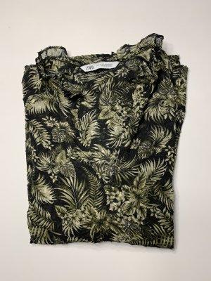 Zara Transparenz-Bluse Flower Print