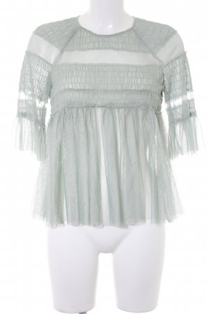 Zara Transparenz-Bluse graugrün Romantik-Look
