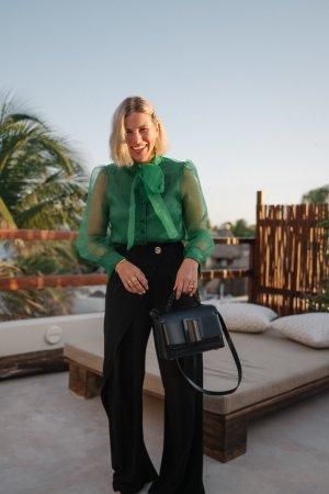 Zara Transparenz-Bluse grün Casual-Look