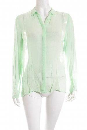 Zara Transparenz-Bluse neongrün schlichter Stil