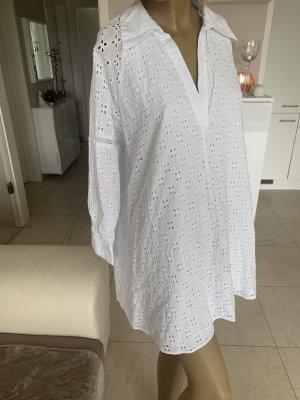 Zara Traum Kleid .. Minikleid .. V-Neck .. Lochstickerei .. weiß Gr. L/Xl .. Neu .. blogger