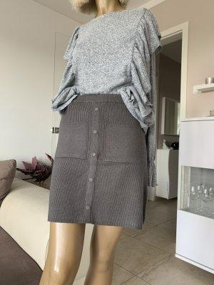 Zara Falda de punto gris oscuro