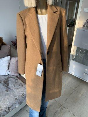 Zara Traum Wollmantel .. elegant .. camelfarbend Gr. M/L Neu mit Etikett .. blogger