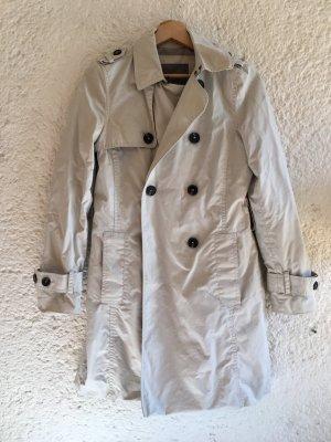 Zara Gabardina gris claro-blanco Algodón