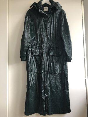 Zara trenchcoat dunkelgrün vinyl