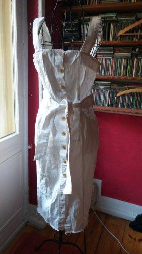 Zara Trafaluc Jeansowa sukienka biały Bawełna