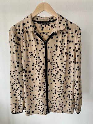 ZARA TRF Collection Bluse in Gr. M (36-38) in Beige mit schwarzen Punkten