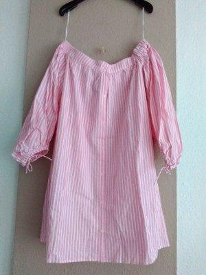 Zara TRF hübsches gestreiftes Minikleid aus Baumwolle in weiss-rosa, Größe M, neu
