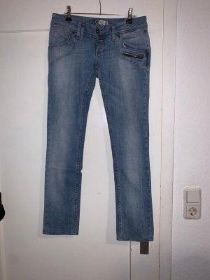 Zara Trafaluc Pantalon taille basse bleu