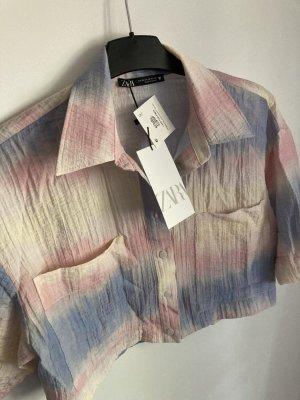 Zara tropical batik Hemd Bluse Pastell cropped top rainbow rose baby blue