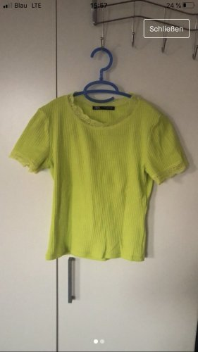 Zara Geribd shirt neongeel-neon groen