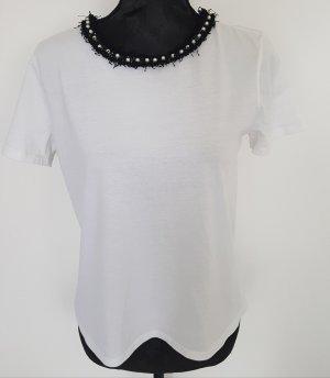 Zara Tshirt weiß mit schwarzem Rand und Perlen, Gr. S, NEU