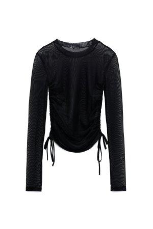 ZARA Tüll Mesh Shirt Top Raffung transparent schwarz – XS/S