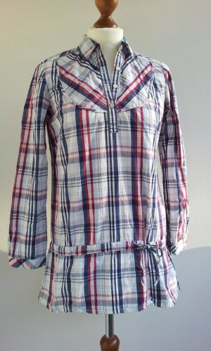 Zara Tunika-Bluse / Hemd in M (38), Blau / Rot / Weiß Karo Cowboy