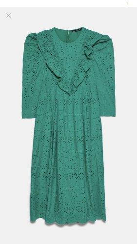 Zara Tunika Bluse  Kleid Maxi ist Rüschen Stickerei Volant
