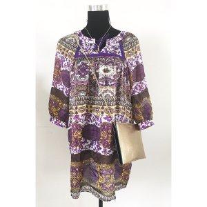 Zara Tunika Boho Hippie Style bunt S M 38 40 Seide Bluse Sommer Blumen Paisley Muster