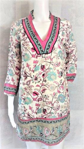 Zara Tunika / Minikleid / Blumenprint / Beige/Rosa/Blau / 100 % Baumwolle/Gr. S/wie NEU!