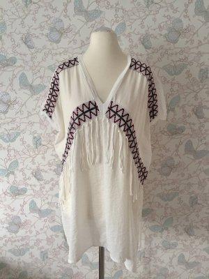 Zara Tunika-Shirt Ethno-Style, weiß, Gr. M (Gr. 38)