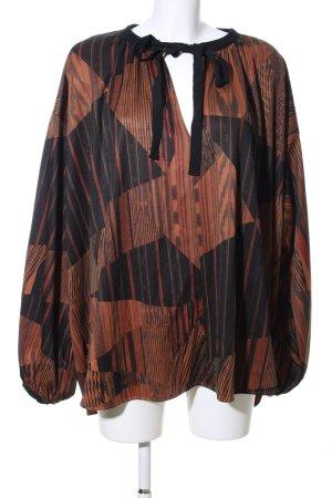 Zara Tunikabluse braun-schwarz abstraktes Muster Casual-Look