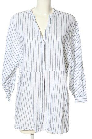 Zara Tunikabluse weiß-blau Streifenmuster Casual-Look