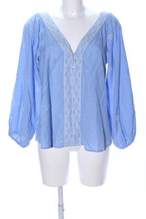 Zara Tunikabluse blau-weiß Mustermix Casual-Look