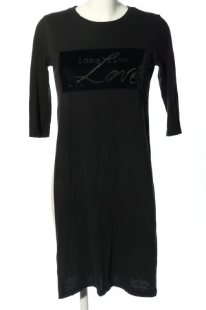 Zara Tunikakleid schwarz Schriftzug gedruckt Casual-Look