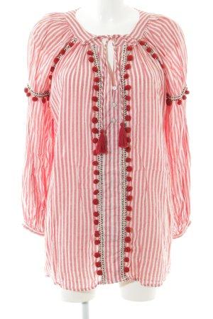 Zara Tunikakleid weiß-hellrot Streifenmuster Street-Fashion-Look