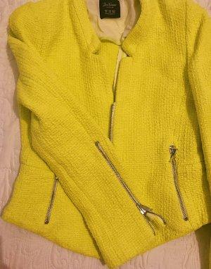 Zara Tweed Blazer neon yellow