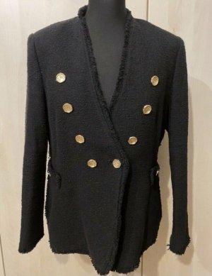 Zara Tweed Blazer Jacke schwarz goldene Knöpfe blogger
