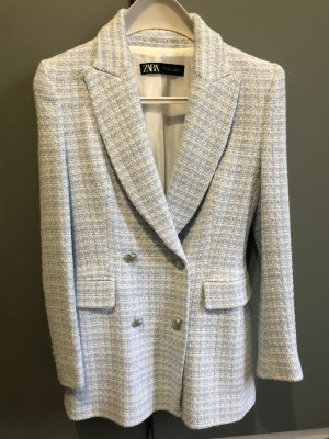Zara Blazer en tweed blanc-bleu azur