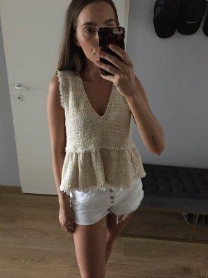 Zara Tweed Bouclé Volants Top Weiß Gelb S