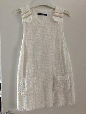 Zara Tweed Kleid Weiß Mini Goldene Schnallen S