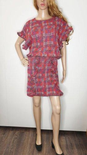 Zara Tweed Kostüm 36 orangerot pink lila silber Tweed Rüschen Rock Top
