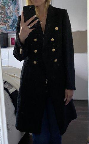 Zara Tweed Mantel schwarz Größe 38