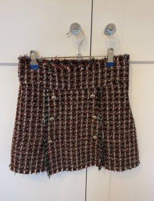 Zara tweed rock XS boucle rot schwarz wie neu