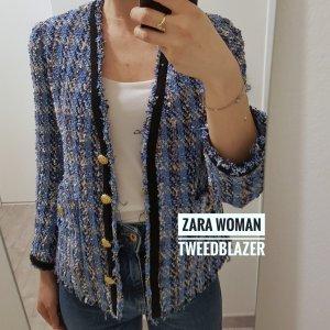 Zara Tweed Blazer white-blue