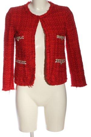 Zara Tweedblazer rot Webmuster Casual-Look