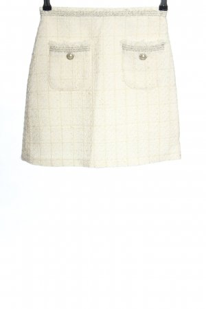 Zara Tweed Skirt white-natural white check pattern business style